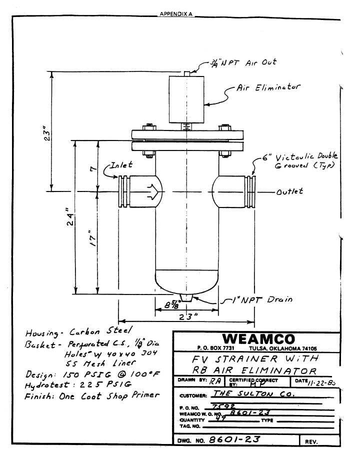Fv strainer with rb air eliminator