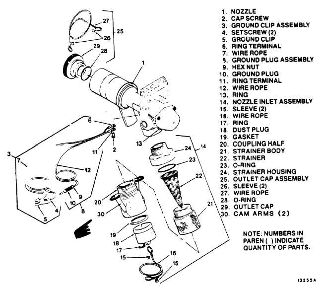 figure 4-1  closed circuit refueling  ccr  nozzle assembly components